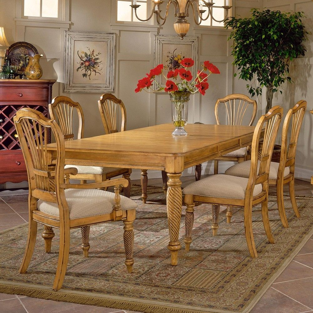 Wilshire Wood Rectangle Dining Table With 2 Arm Chairs 4 Side