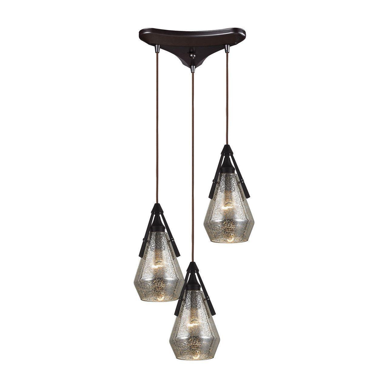Elk Lighting Duncan 3 Light Wide Multi Pendant With Triangle C Oil Rubbed Bronze