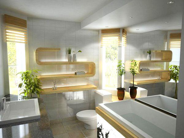 elegante badezimmer renovierung ideen wanne regale pflanzen - badezimmer design badgestaltung