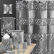 22 Pc SILVER HOLLYWOOD GLAMOUR BLING Sequined SHOWER CURTAIN BATH ACCESSORY SET