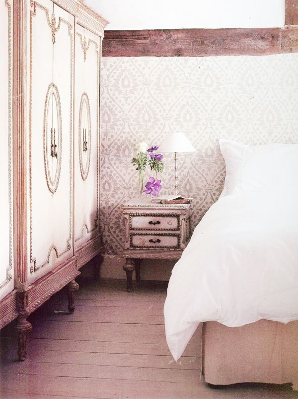 soft pink bedroom - love the antiques and rustic touches