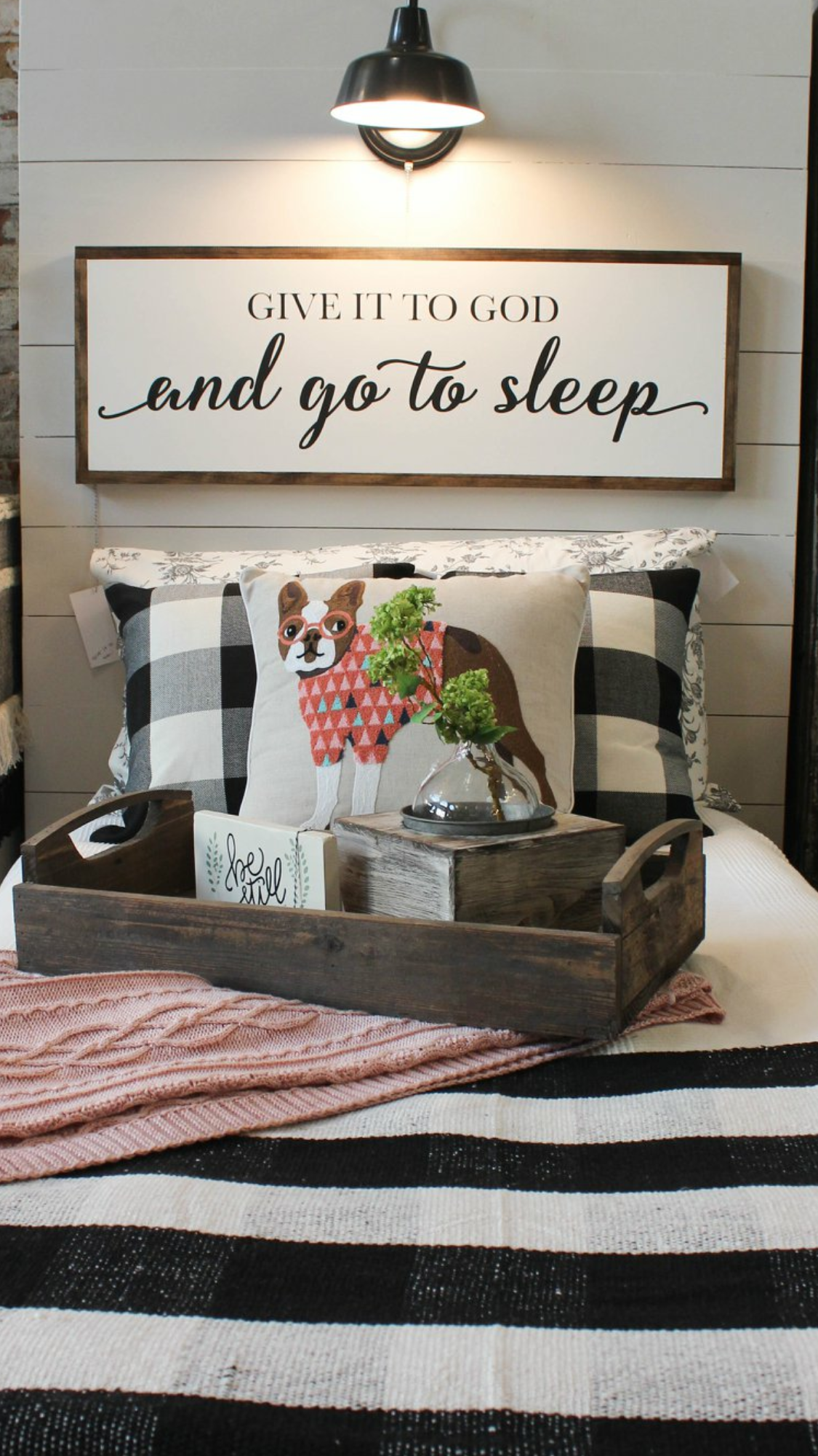 farmhouse master bedroom signs on over the bed sign with buffalo check and cute dog pillow created by whimsy and weathered home decor home diy home home decor
