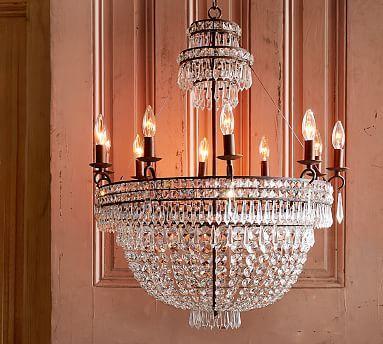 Ella crystal chandelier bronze chandeliers lights and room ella crystal chandelier potterybarn aloadofball Images