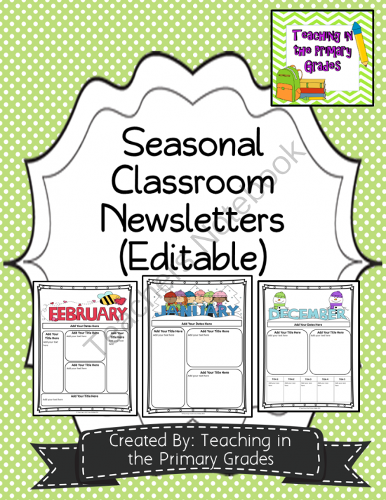 Classroom Newsletter Templates Editable Text From Teaching In
