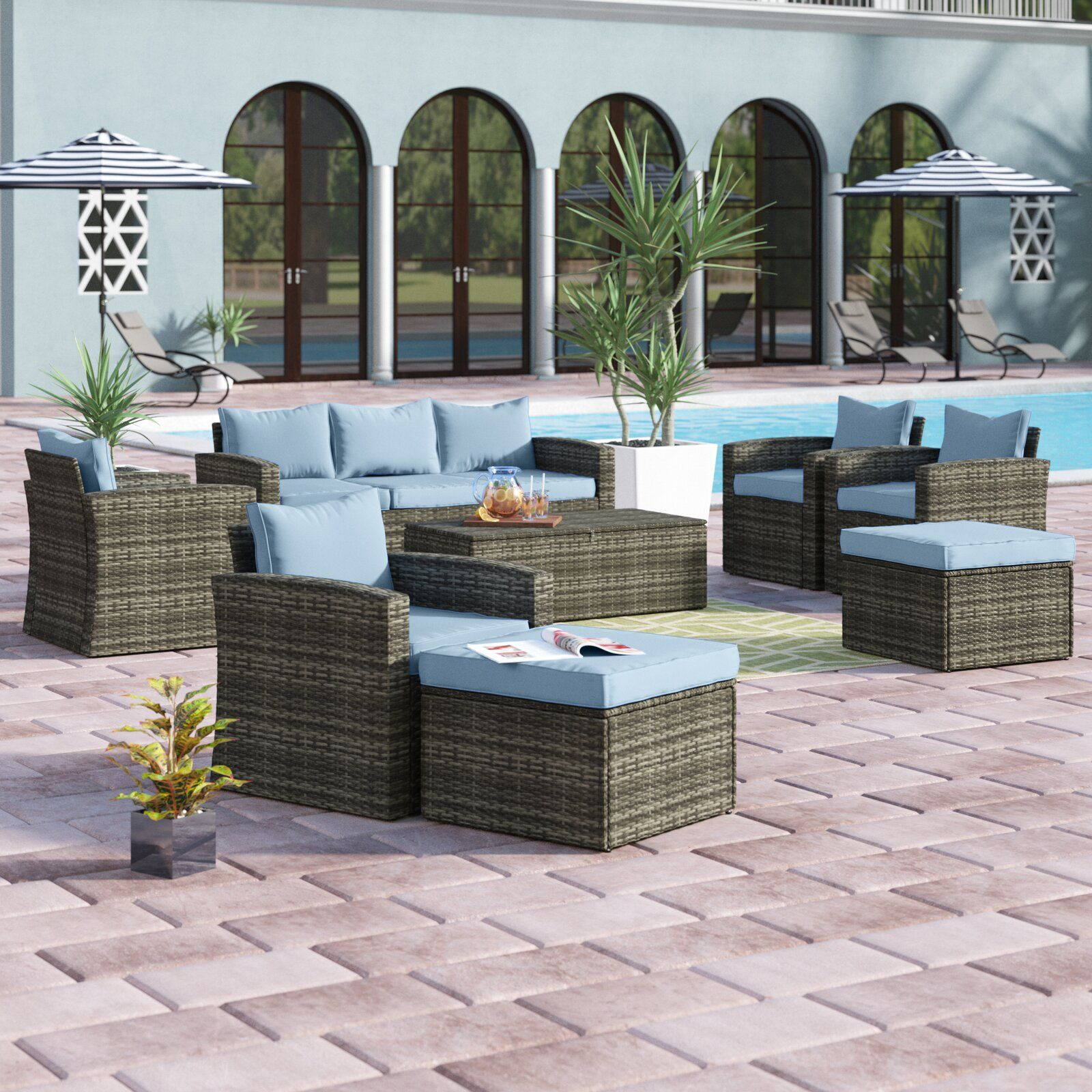 Best Arlington 5 Piece Rattan Sofa Seating Group With Cushions 400 x 300