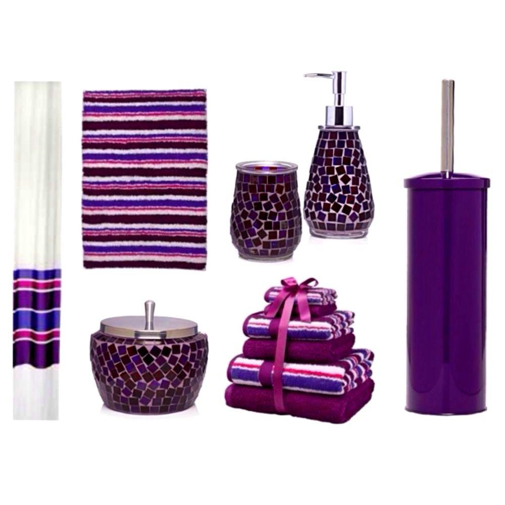 Purple and teal bathroom accessories
