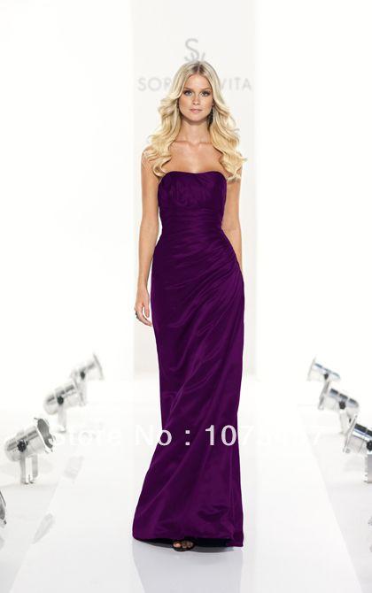 Elegant Bridesmaid Dresses Purple Taffeta Scoop Lace Up Pleat Off the Shoulder Floor Length Free Shipping JB389