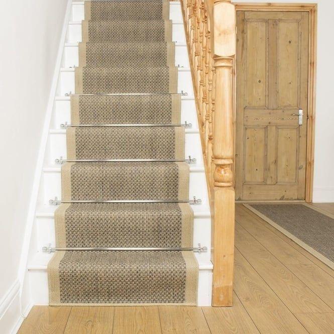Best Gingham Tweed Beige Stair Runner Carpet Stairs Carpet 400 x 300