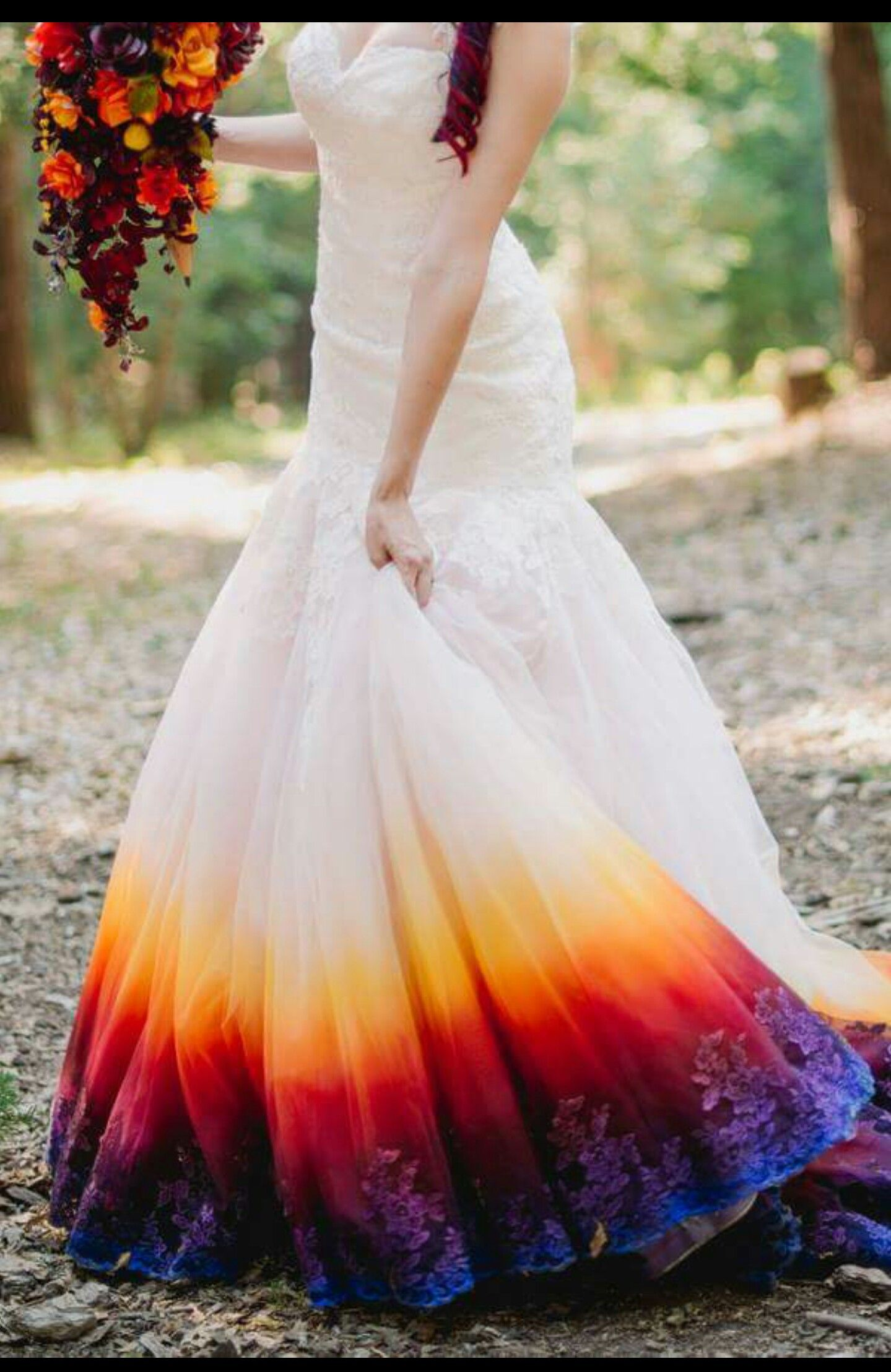 Dyed Or Stained Bottom Of Wedding Dress Dip Dye Wedding Dress