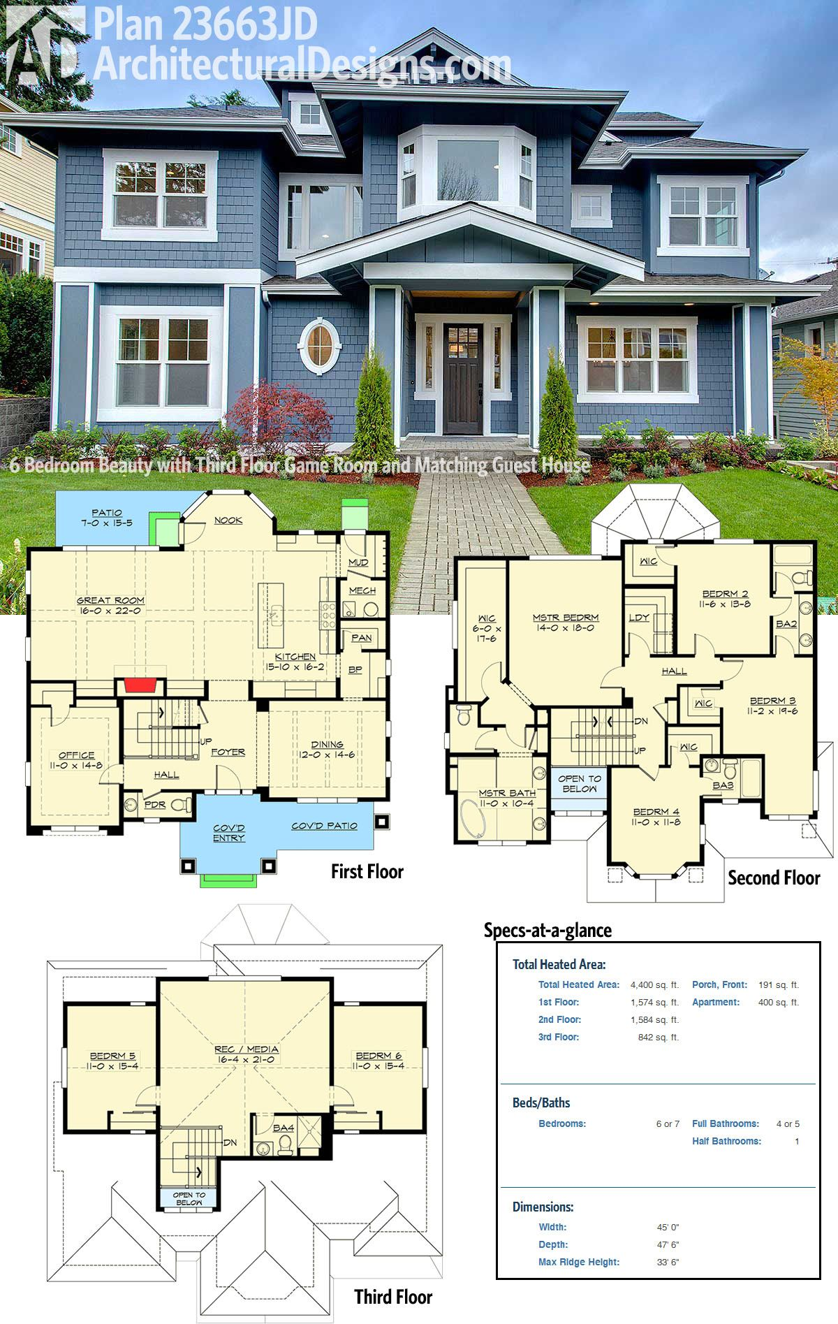 Plan 23663jd 6 bedroom beauty with third floor game room for Floor plans with guest house