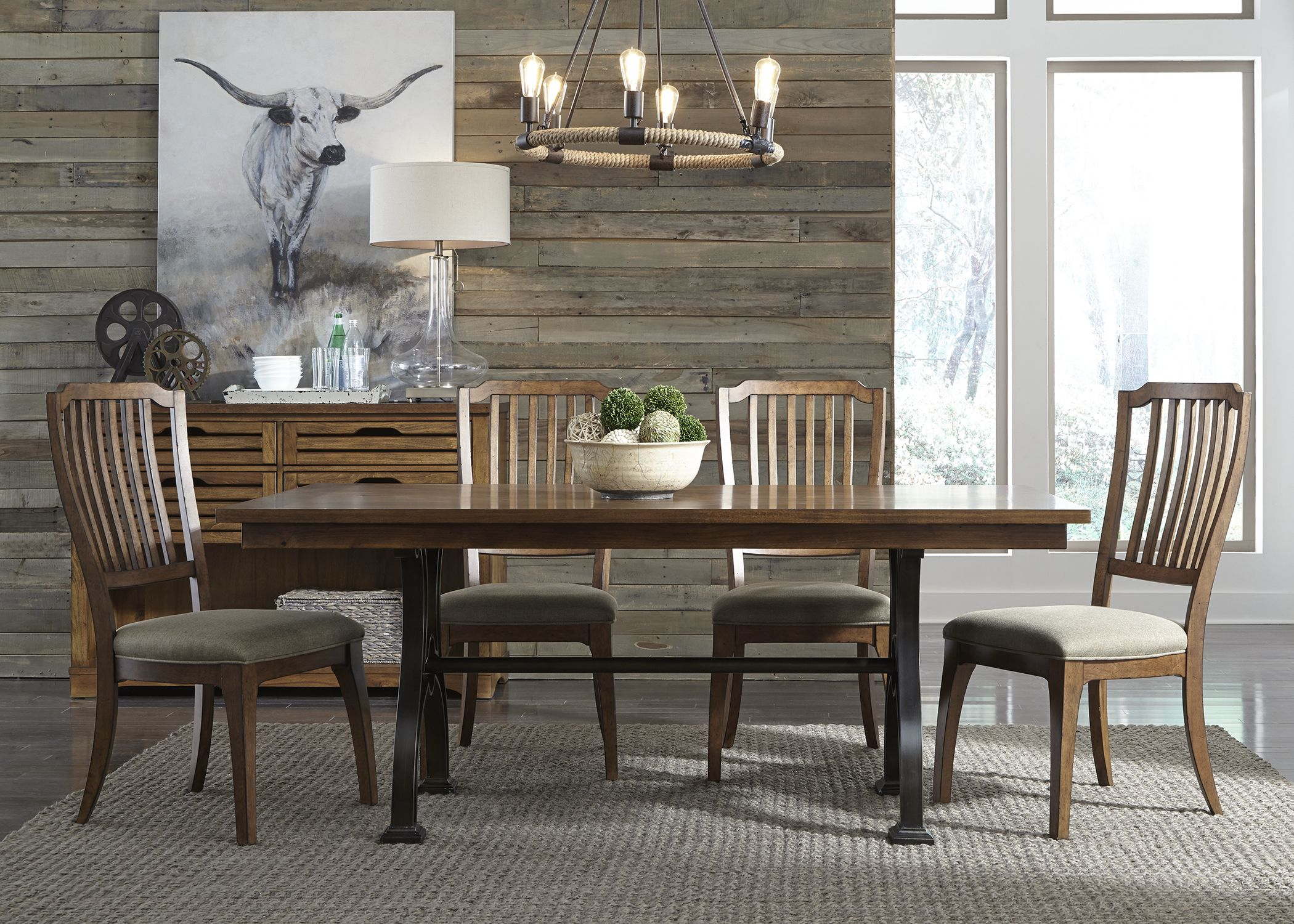 411 C4001S 2 Arlington House, Liberty Furniture, Trestle Dining Tables,  Dining