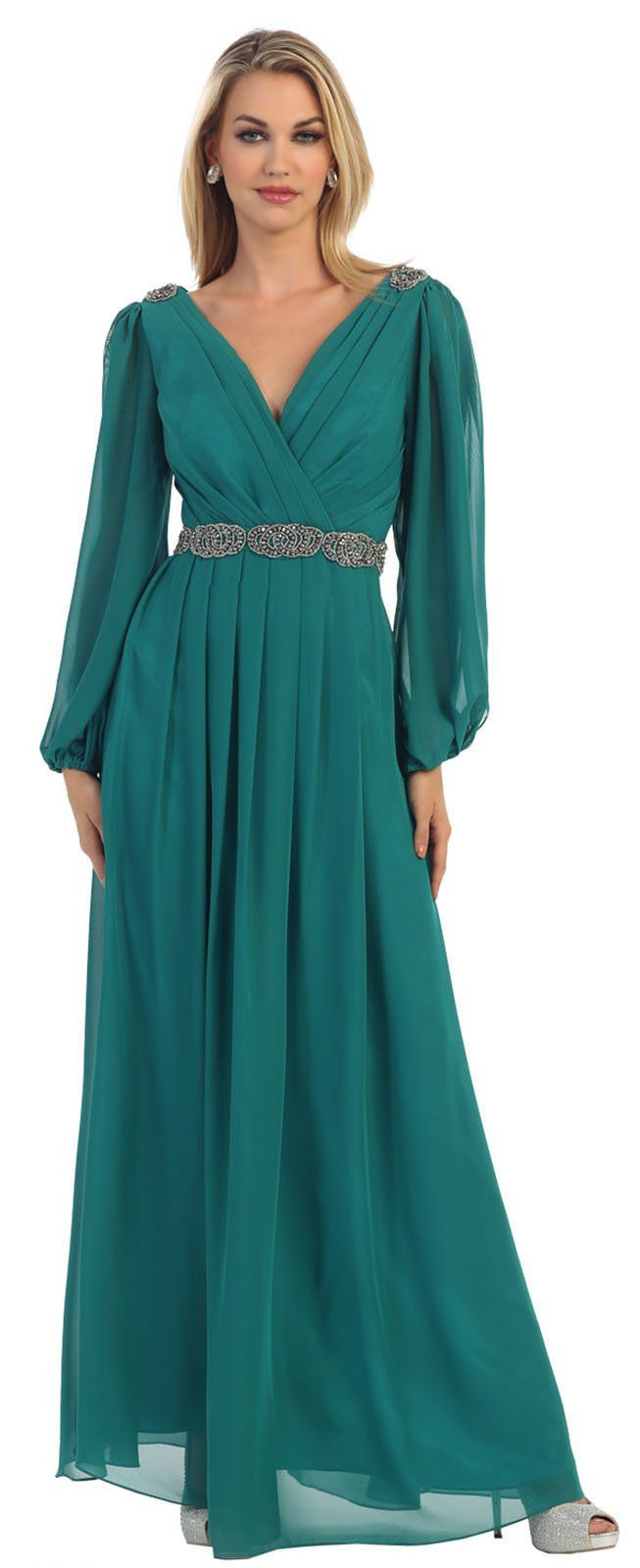 May Queen MQ1020 Long Sleeve Mother Of The Bride Groom Dress (3XL ...