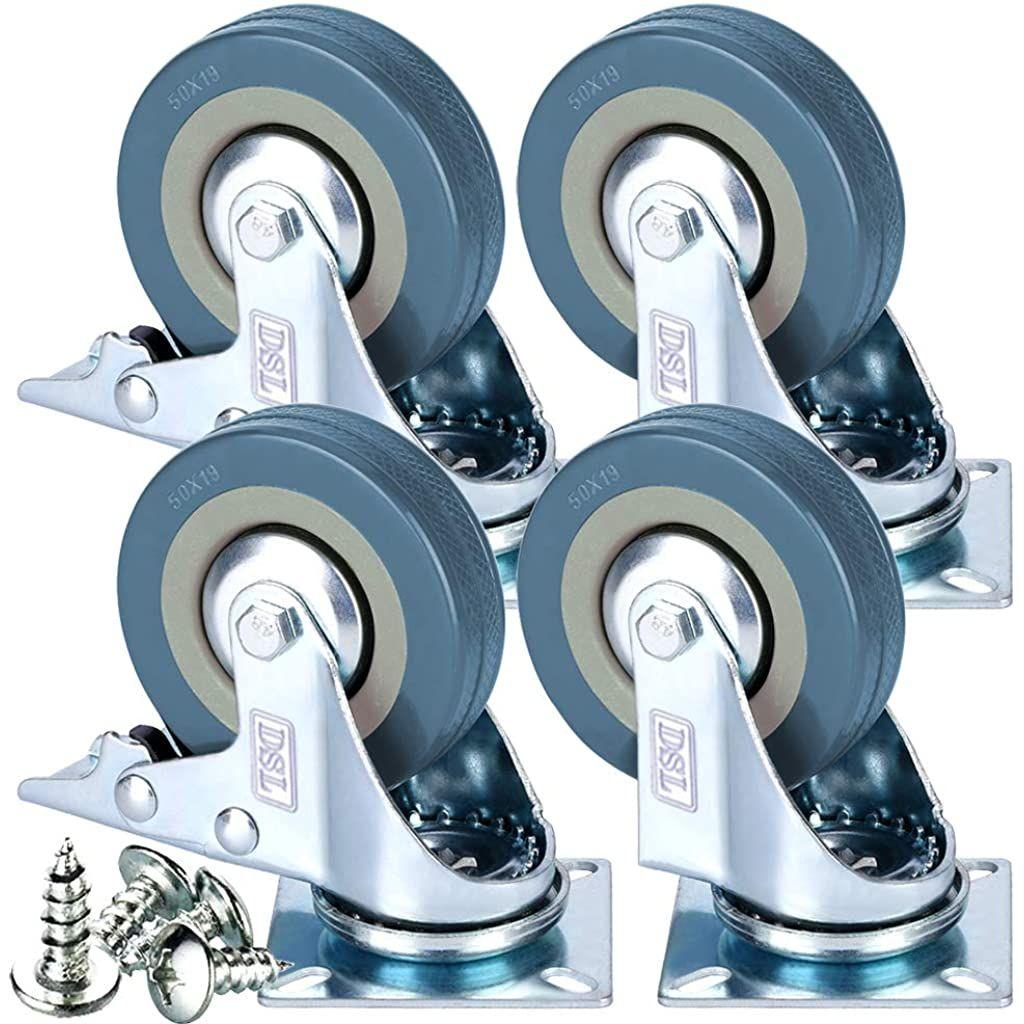 Lot De 4 Roulettes Pivotantes Resistantes En Caoutchouc Avec Frein 50 Mm 200 Kg Ajusteur Gratuit En 2020 Roulette Pour Meuble Roulette Caoutchouc