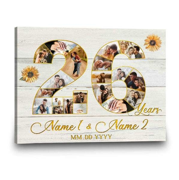 Show your love this 26th anniversary with our26th Anniversary Gift For the Couple. Create a stunning26-years anniversary gift for boyfriendfor your anniversary this year using your favorite photos intwenty-sixyears of the two of you together. These make for the perfect anniversary gift, bringing your memories to life. This is a wonderful surprise26th-anniversary gift for husbandor a Twenty-sixth-anniversary gift for her you can enjoy creating and helping the two of you look back at all t