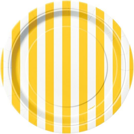 "7"" Yellow Striped Dessert Plates, 8ct"