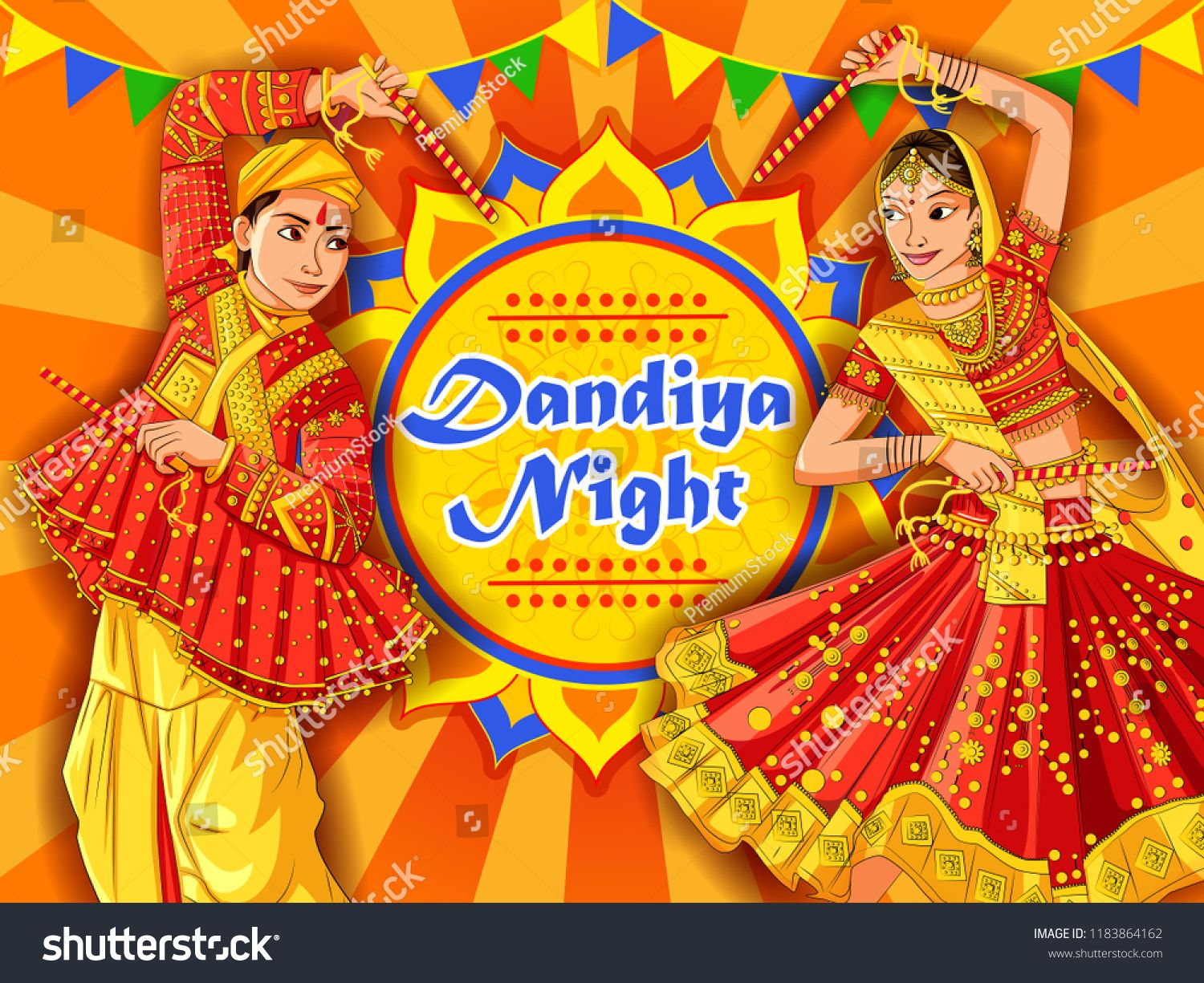 Vector Design Of Indian Couple Playing Garba In Dandiya Night Navratri Dussehra Festival Of Indiacouple Playing Navratri Festival Festival Celebration Festival