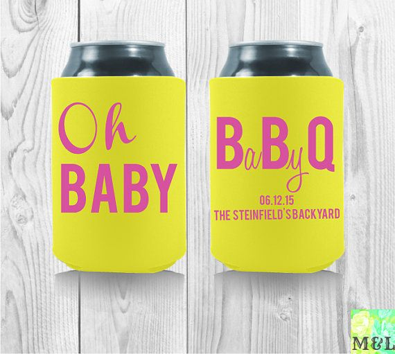 Baby Shower Koozie Favors ~ Personalized baby shower koozies oh bbq fun by