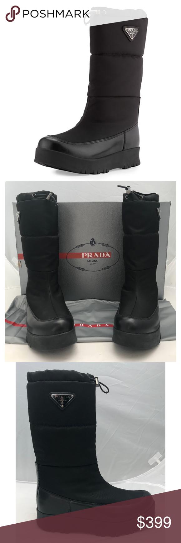 18189bb3 New Prada Platform Snow Boots Logo Black SZ 38 Authentic Prada Linea ...