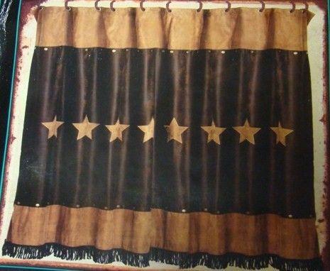 Rustic Star Shower Curtain In Dark Brown And Tan