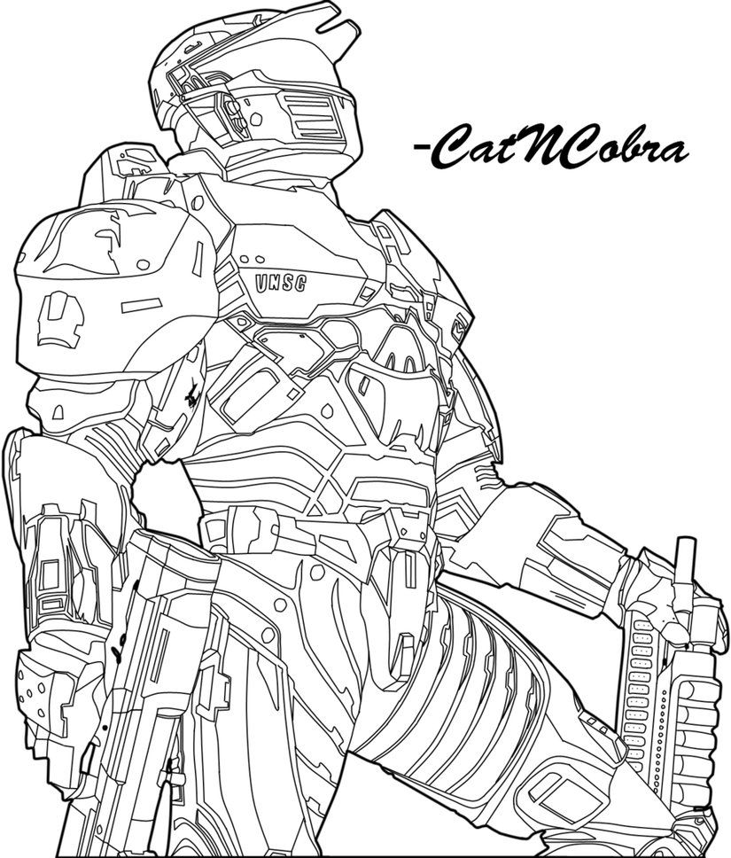 Halo Wars Spartan Cartoon Coloring Pages Halo Drawings