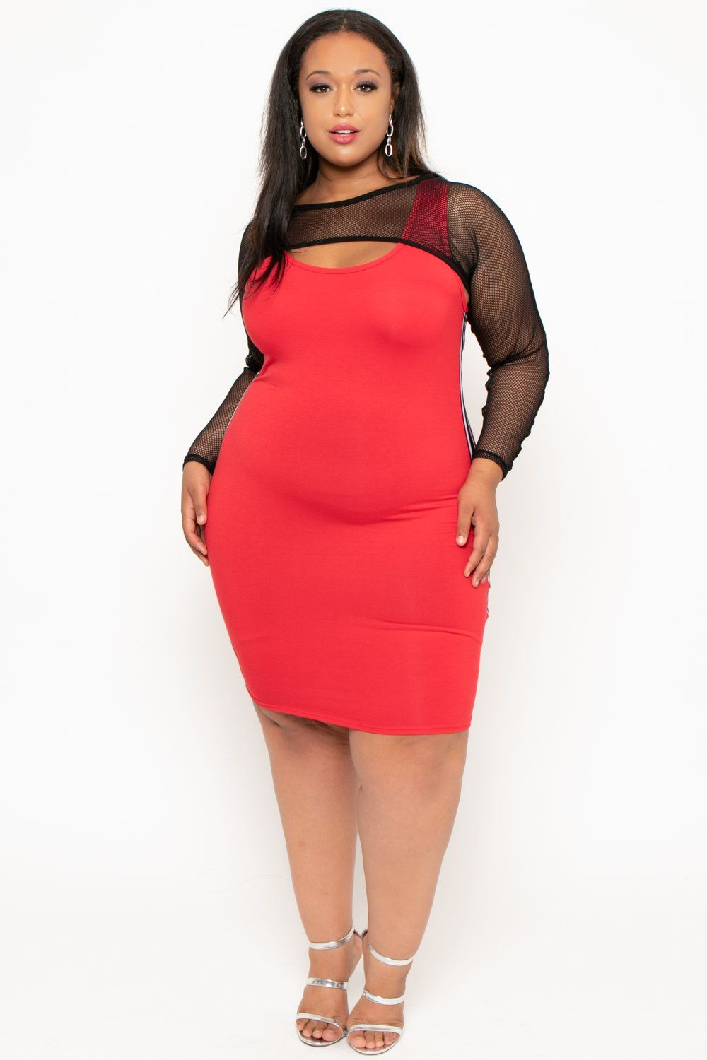 Plus Size Mesh Overlay Active Dress - Red in 2019 | leggs | Dresses ...