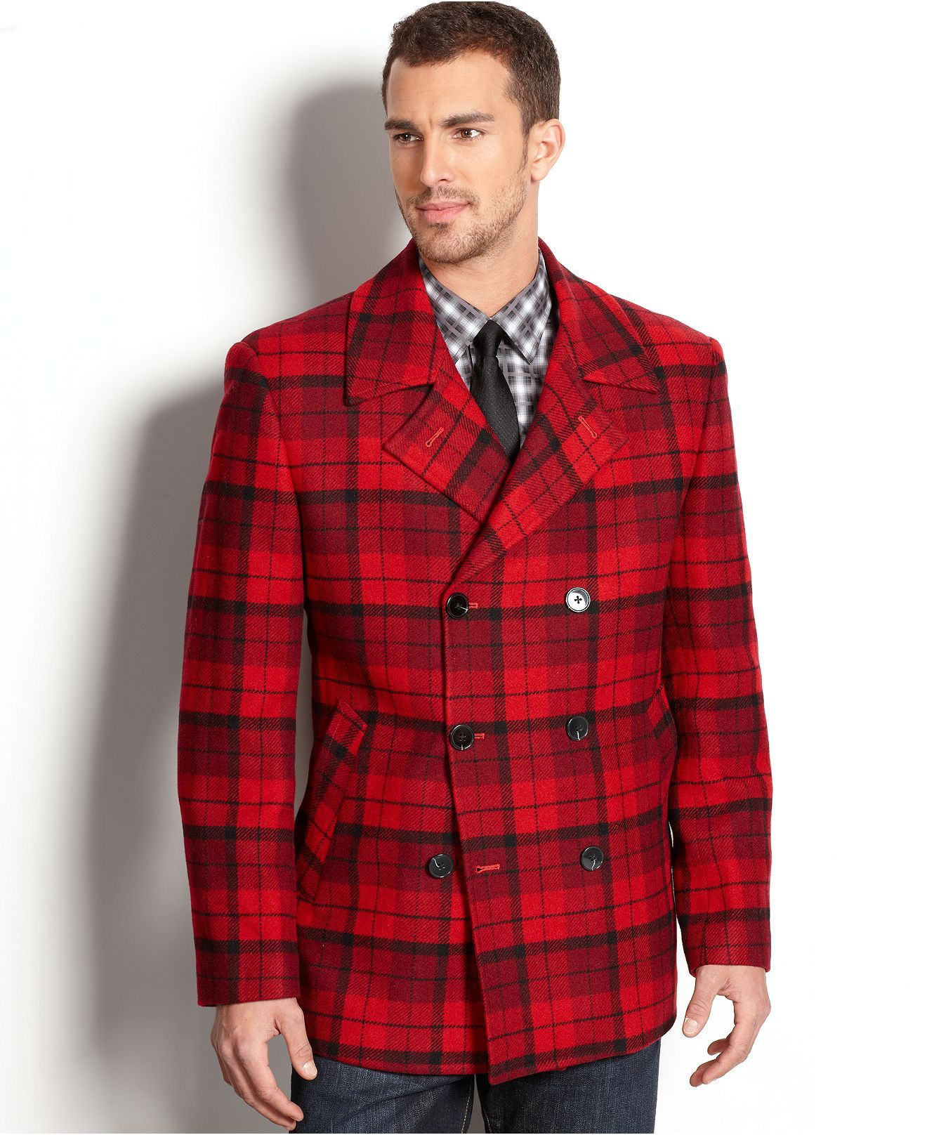 Tallia Orange Coat, Red Plaid Double Breasted Peacoat - Mens Coats ...
