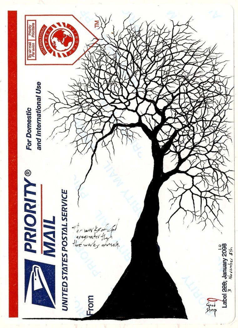sharpie and copic text   USPS Priority Sticker Art Label 228