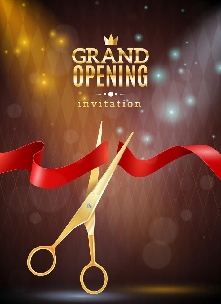 Grand Opening Invitation Realistic Background With Ribbon And