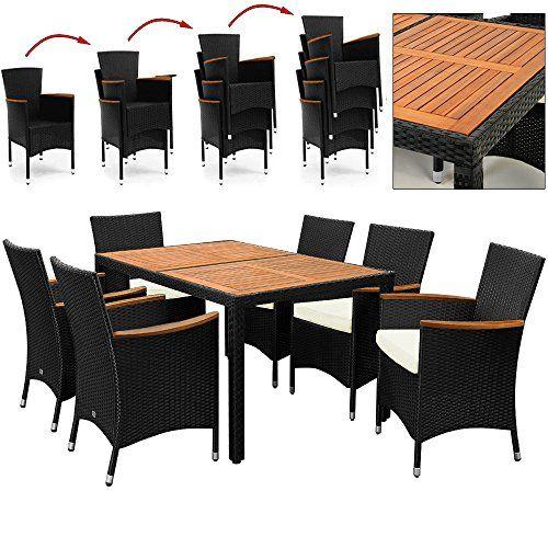 salon de jardin polyrotin extrieur meubles ensemble table 6 chaises noir bois - Ensemble Table Jardin