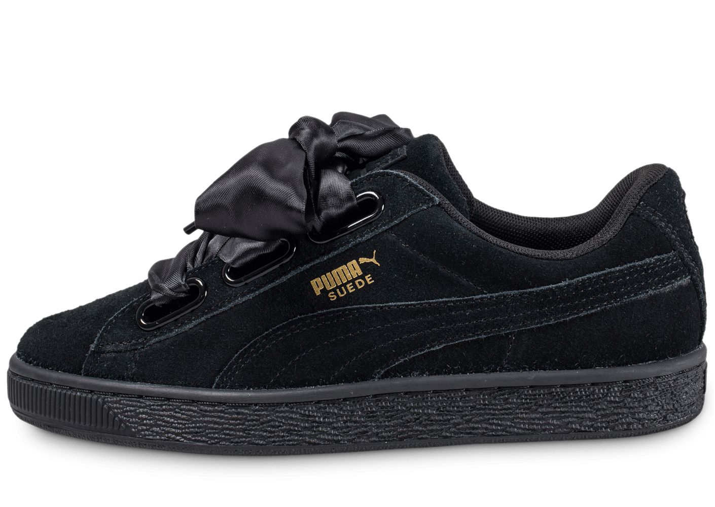 huge discount 213d3 e5c49 Puma Suede Heart Satin Ii Noire Baskets Tennis Femme