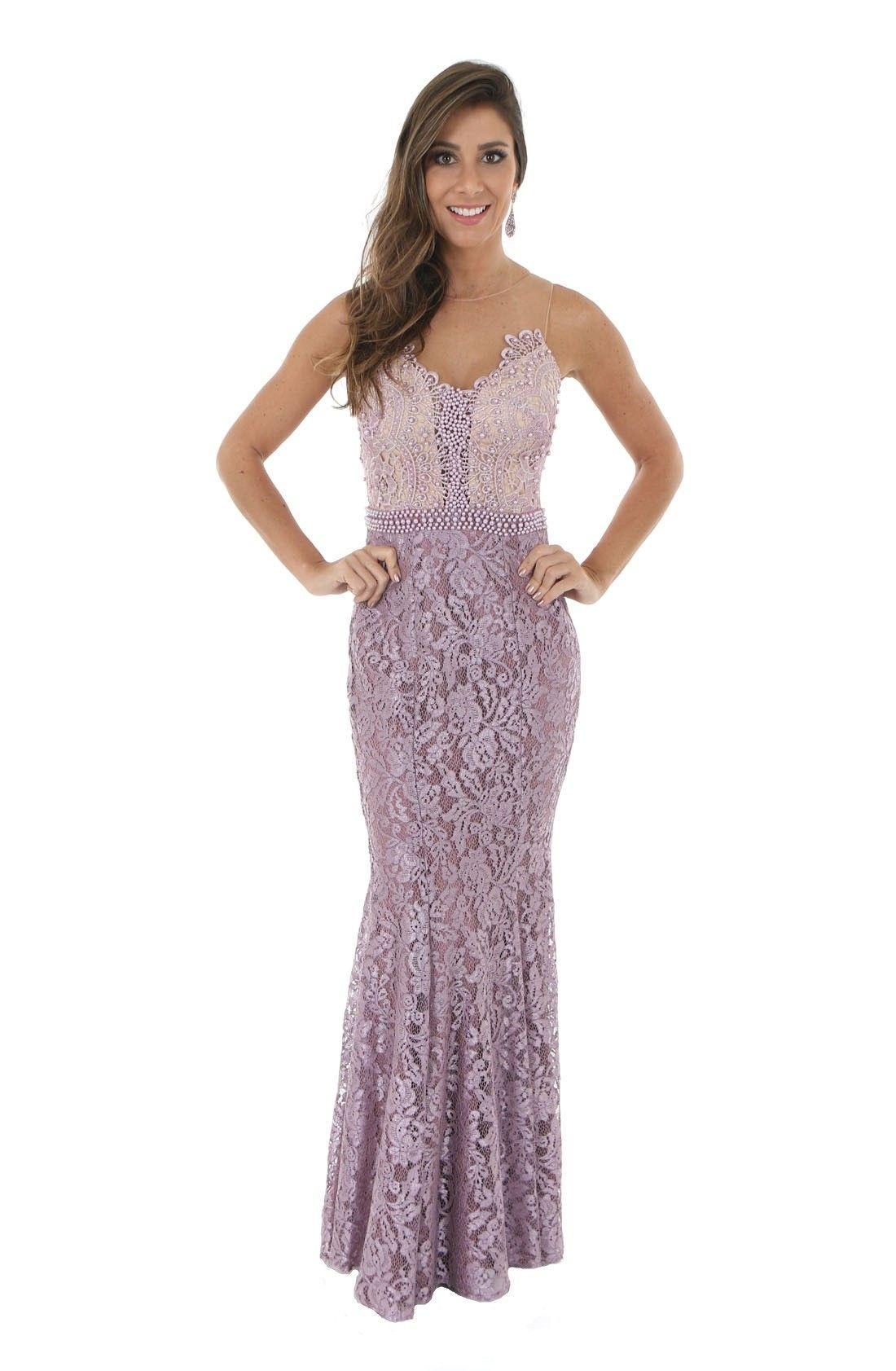 e436327d0 Vestido de Festa Sereia em Renda Lilas | vestidos | Formal dresses ...