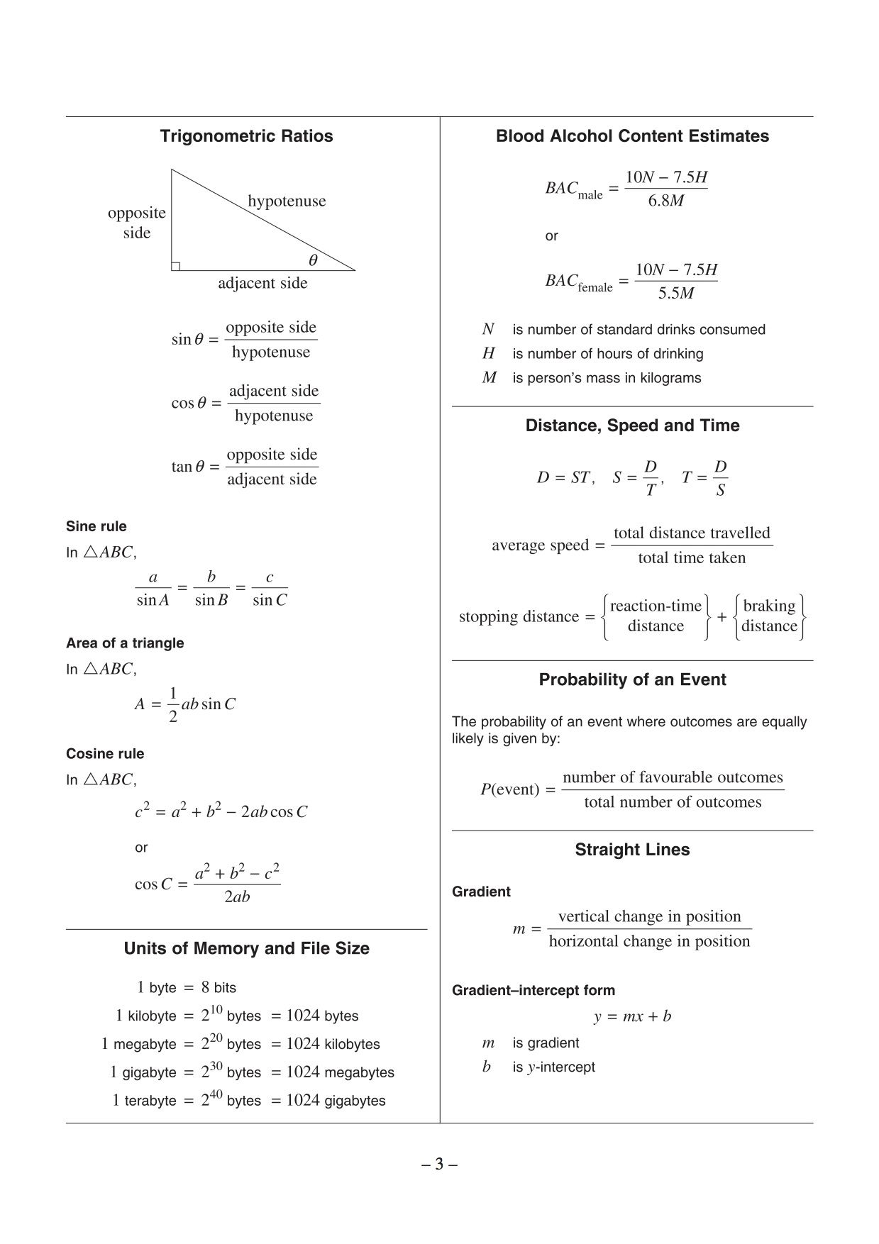 Hsc General Maths Formula Sheet