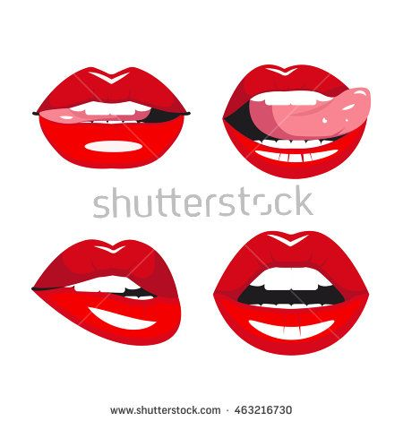 Set Of Vector Red Lips Various Types Of Woman Lips Seductive