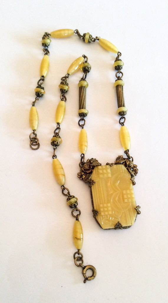 Art Deco Necklace Yellow Carved Czech Glass Vintage Jewelry Gift For Her Spring Sale Vintage Inspired Jewelry Art Nouveau Jewelry Vintage Jewelry