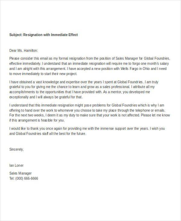 resignation letter sles 28 images sales department resignation