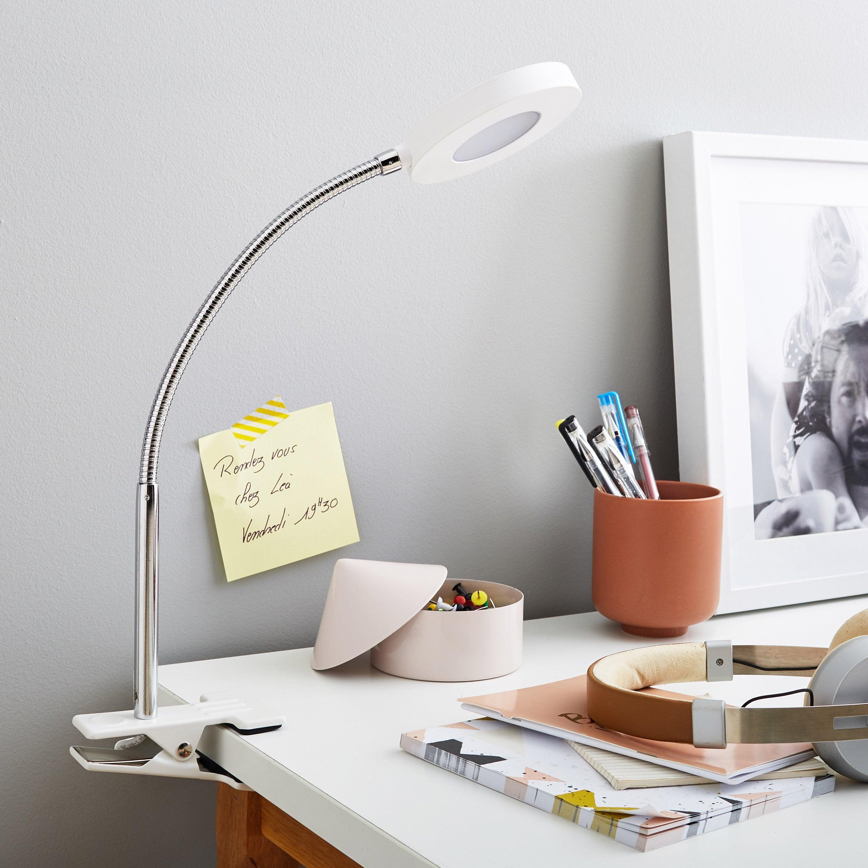 Lampe De Bureau Led Intégrée à Pince Blanc Led Qi Inspire