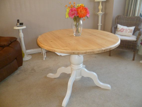 Shabby Chic Solid Pine Round Extending Dining Table Upcycled In