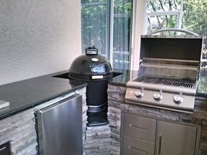 Before After Outdoor Kitchen Water Feature Renewal Outdoor Kitchen Outdoor Living Design Water Features