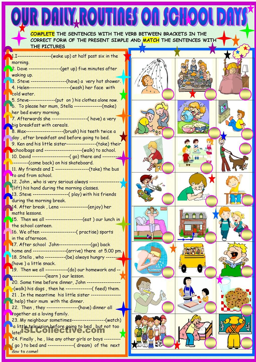 Workbooks subject verb agreement worksheets 9th grade : Daily Routines - subject-verb agreement, adverbs of frequency for ...