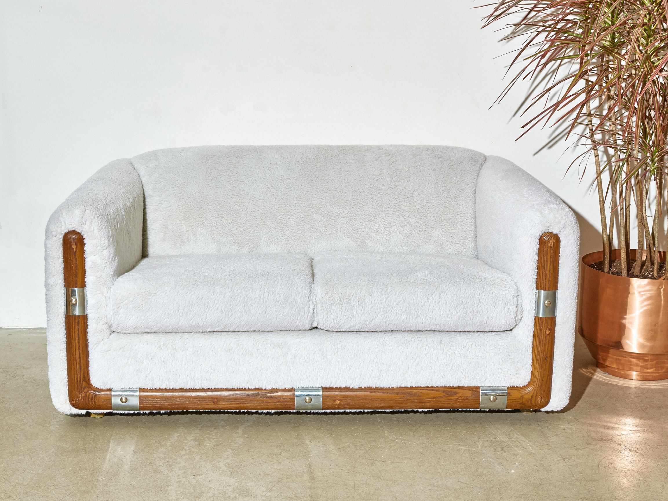 Super Cozy Vintage Loveseat Circa 1970 Reupholstered With Fuzzy Off White