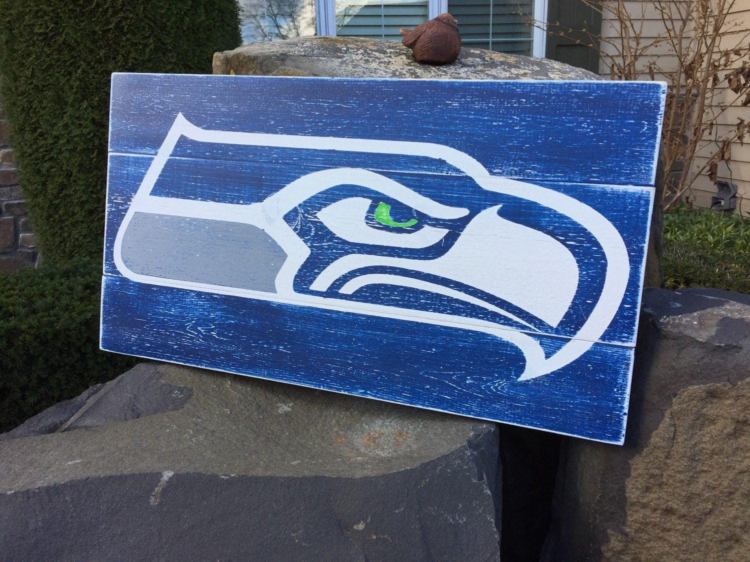 Man Cave Football Signs : Seattle seahawks large hand painted wood sign rustic man cave