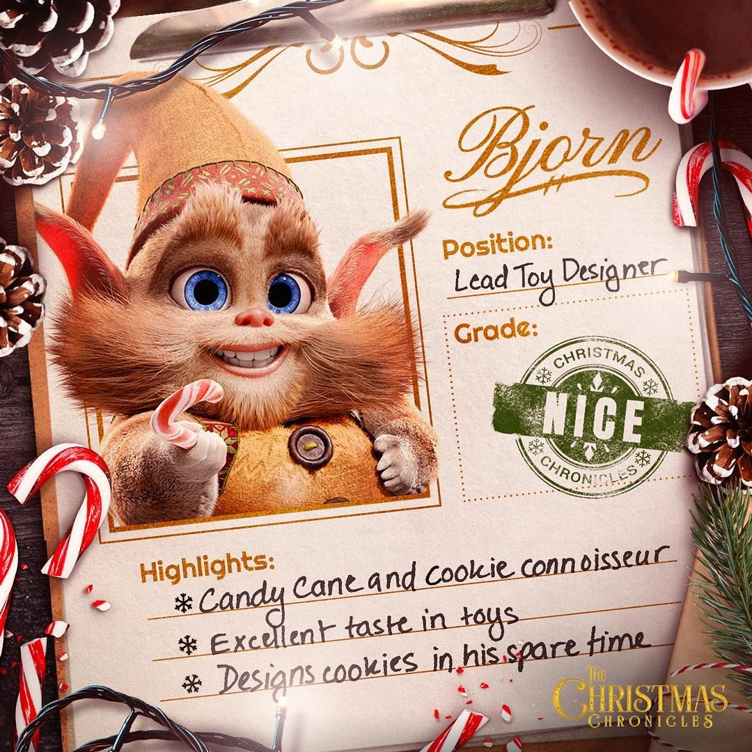 The Christmas Chronicles Poster.Meet Bjorn Candy Cane Expert Cookie Connoisseur Santa S