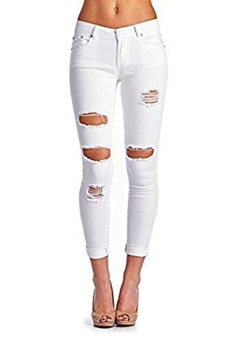 a94ef5d24e1 Women s Casual Ripped Holes Skinny Jeans Jeggings Straight Fit Denim Pants  (US 8