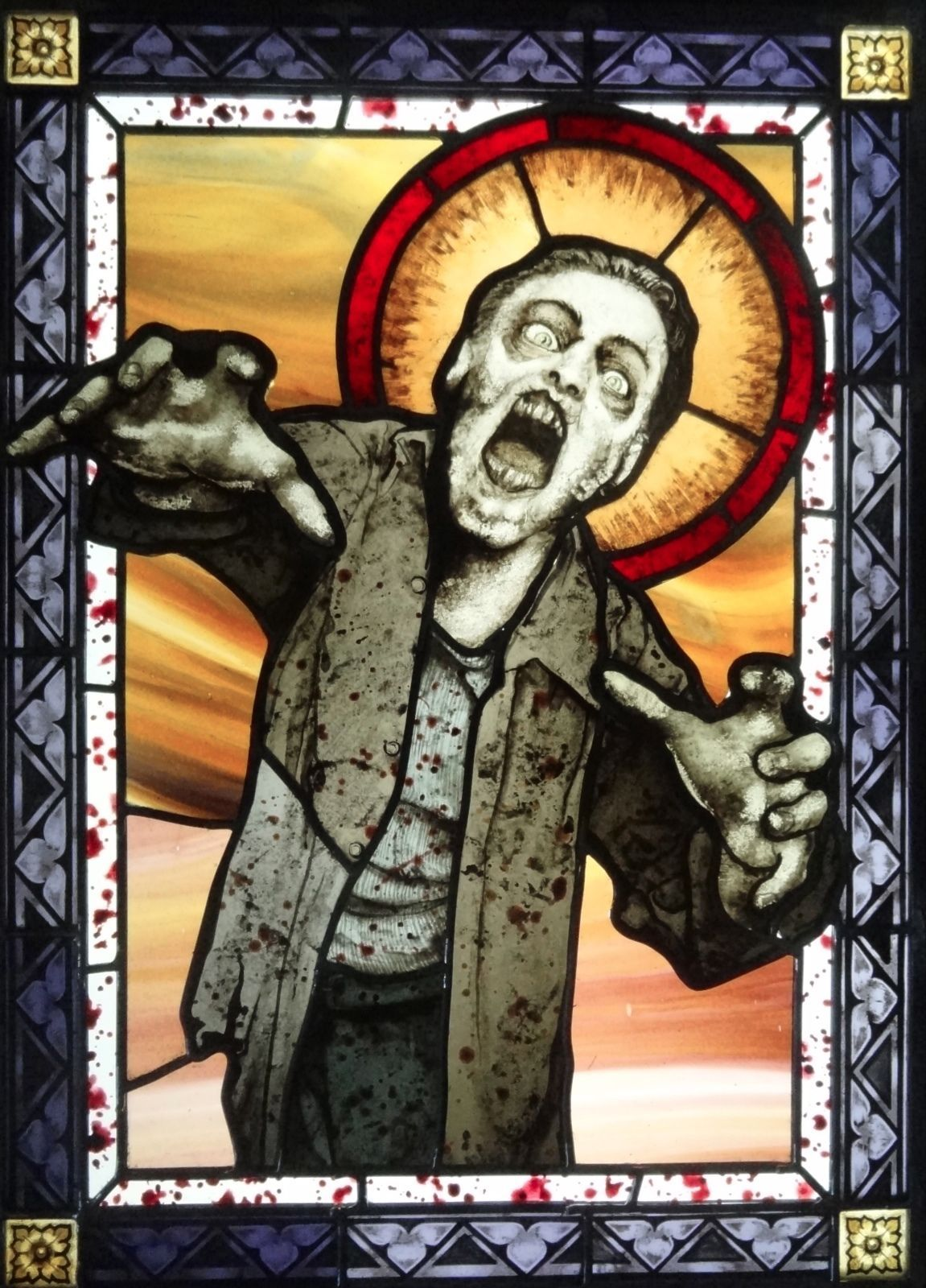 Zombie Walking Dead Stained Glass Panel Ebay Stained