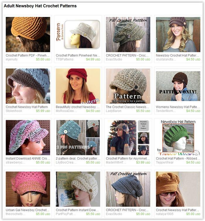 Adult Newsboy Hat Crochet Patterns | Things to Wear | Pinterest | Gorros