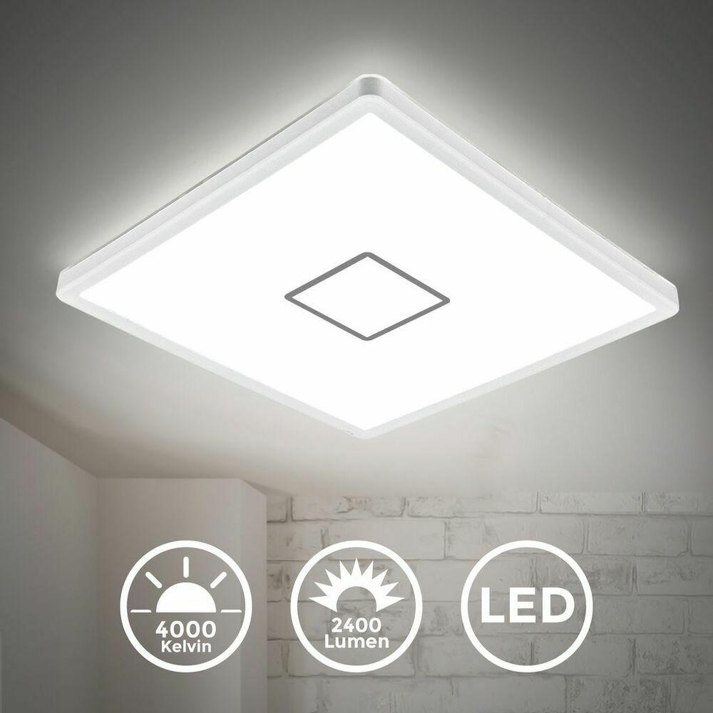 Led Deckenlampe Ultraflach Wohnzimmer Panel Deckenleuchte Flur Slim Weiss Silber Ebay In 2020 Led Deckenlampen Deckenlampe Deckenleuchte Flur