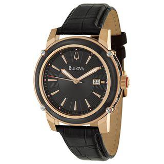 Bulova Men's 'Dress' Rose Gold-Plated Stainless Steel Black Quartz Watch
