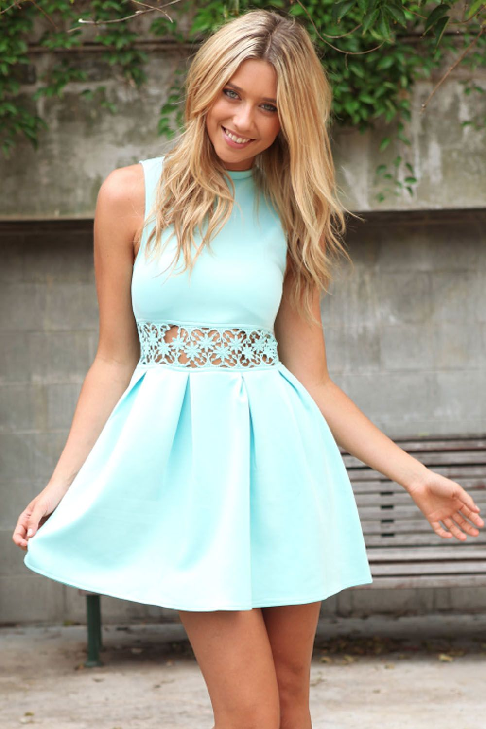 Double Duchess Mint Green Lace Dress | Cutout dress, Mint green ...