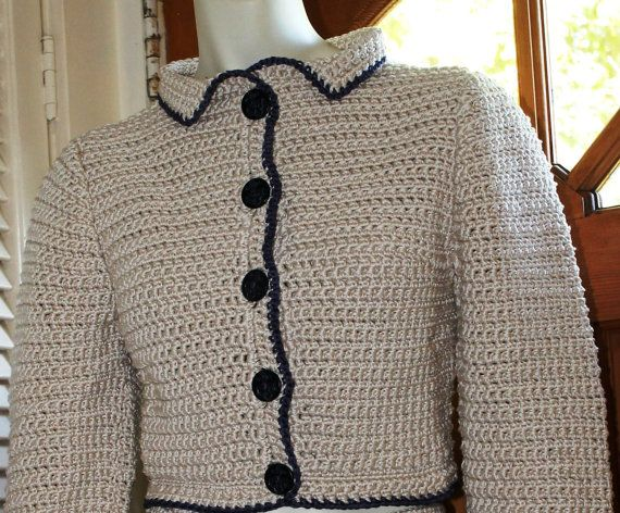 Need to dress up for an event, this Preppy Jacket Woman's Sweater  Nautical Top  by AnnieBriggs, $175.00 #handmade #crochet is perfect.