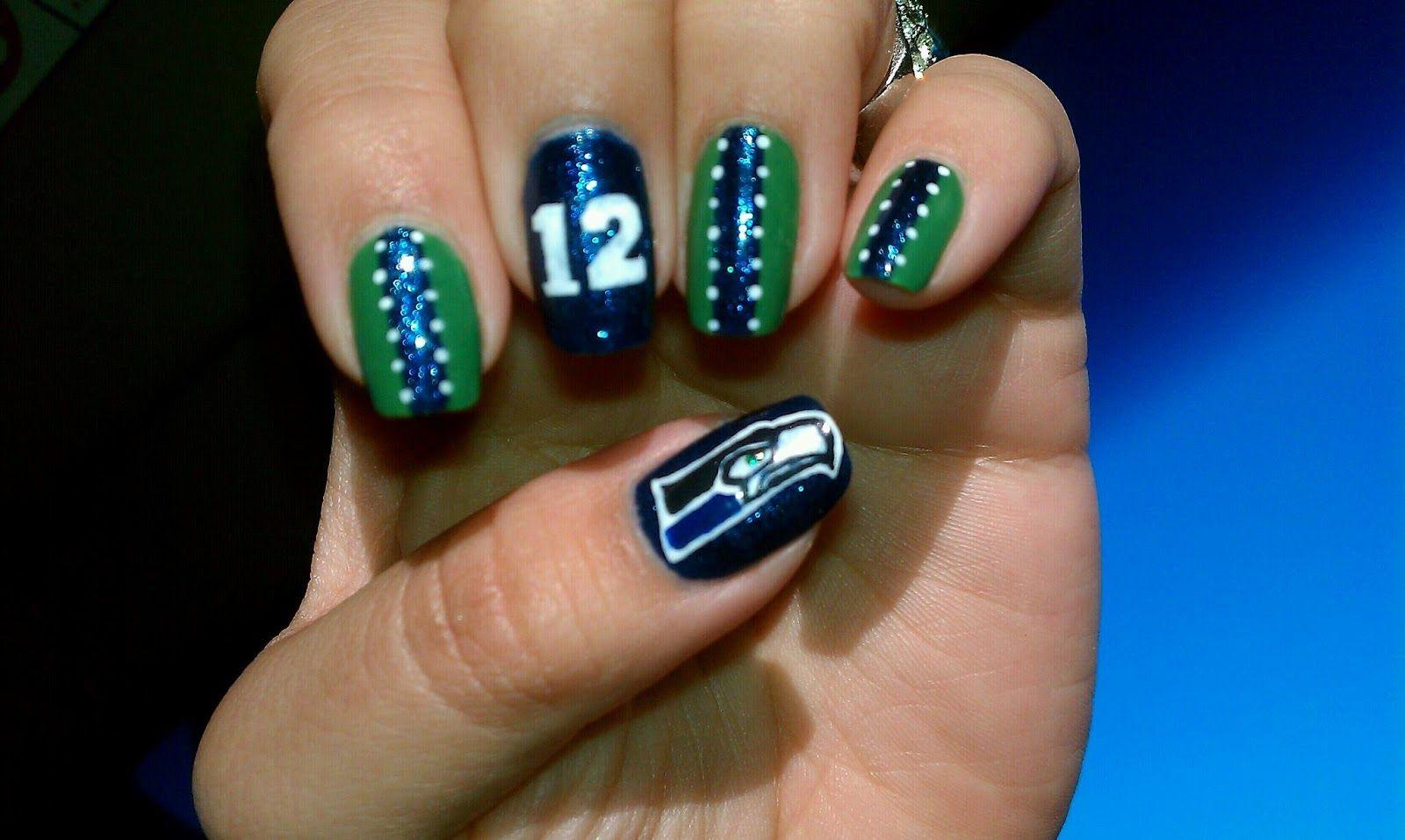 Seattle seahawks nails   Christina D Makeup: Seattle Seahawks: Beast ...